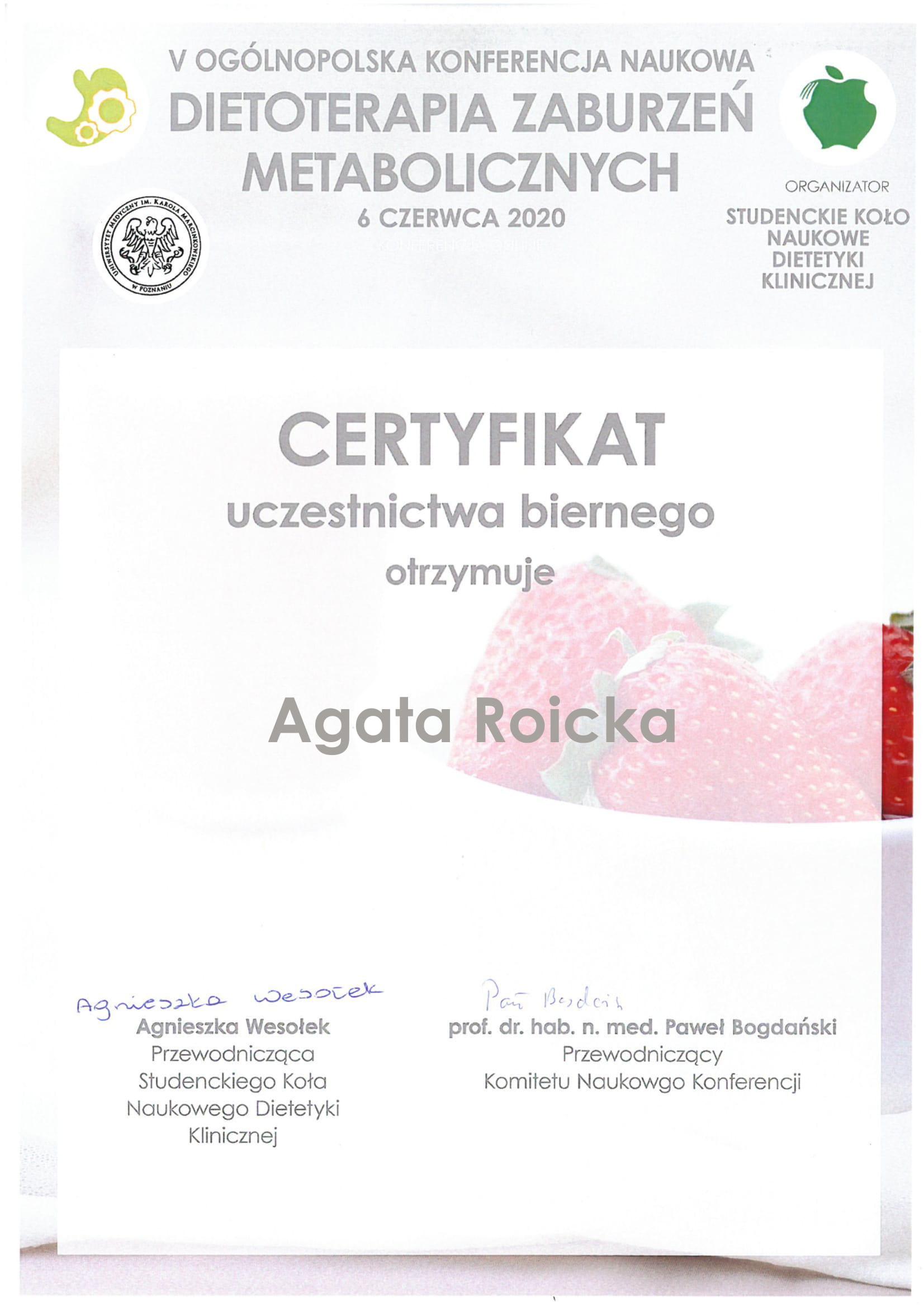 Certyfikat uczestnictwa biernego - Agata Roicka-1